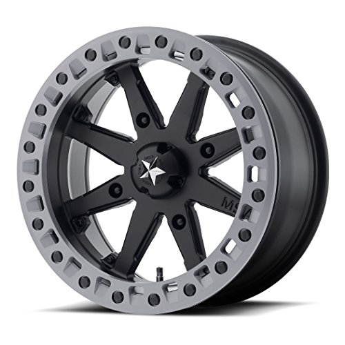 (MSA OFFROAD WHEELS M31 LOK2 Satin Black Matte Gray Ring Wheel with Painted and Chromium (hexavalent compounds) (14 x 7. inches /4 x 132 mm, 0 mm Offset))