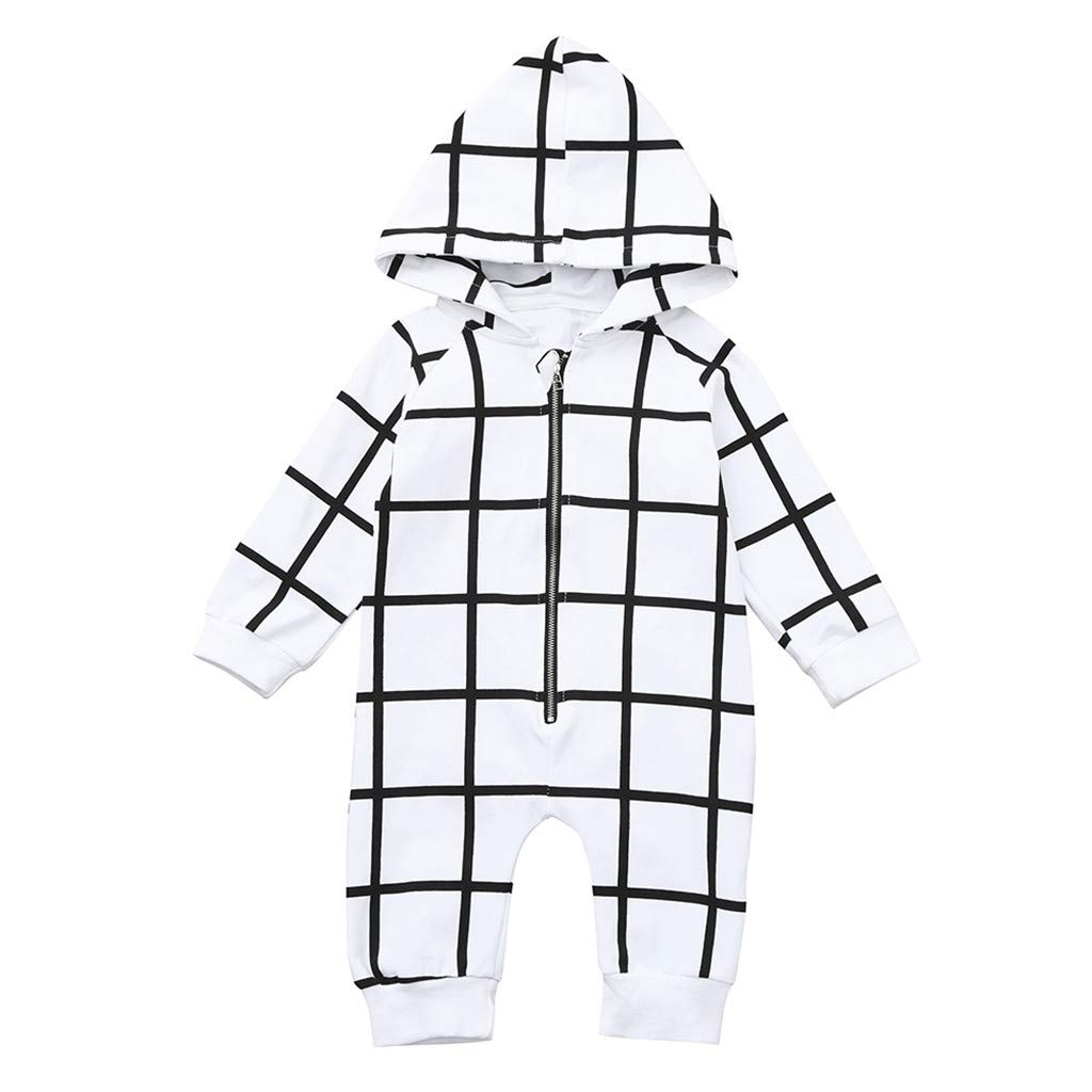 Winter Jumpsuit Outfit Newborn Baby Boys Girls Striped Printed Hoodie Long Sleeve Romper Bodysuit Clothes