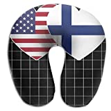 Finland USA Flag Twin Heart Pattern Super Comfortable U Type Pillow Neck Pillow Relex Pillow Travel Pillow With Resilient Material