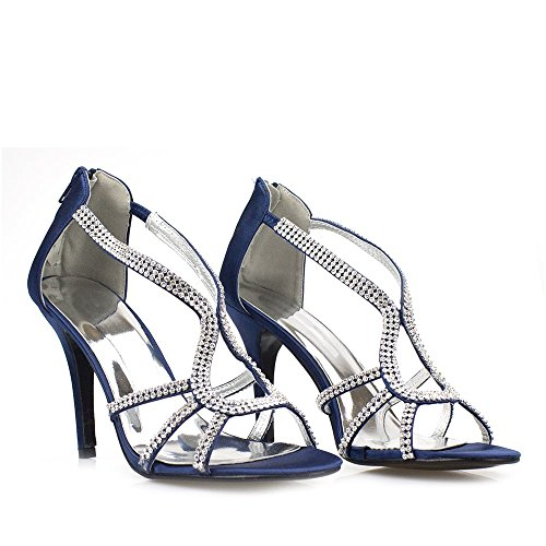 Diamante Zip Stiletto On Satin Anabelle Ladies Sandal Open Satin Back Toe Navy Slip High Women High wx1Bqz