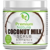 Coconut Milk Exfoliating Body Scrub - Natural Coconut Oil Skin Exfoliator for Face Hand Lip & Body with Sea Salt & Shea Butter, Acne & Eczema Treatment, Stretch Mark Scar & Cellulite Remover