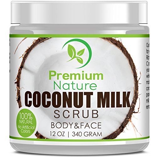 Coconut Milk Exfoliating Body Scrub - Natural Coconut Oil Skin Exfoliator for Face Hand Lip & Body with Sea Salt & Shea Butter, Acne & Eczema Treatment, Stretch Mark Scar (Natural Exfoliator)