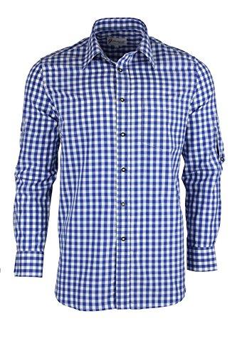 Trachtenhemd kariert in 6 Farben Gr. XS-XXXL mit Krempelärmeln Deutscher Hersteller (M, blau)