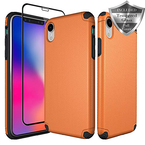 SWODERS Case for iPhone XR, [Hard PC Cover] High Impact Resistant Fully Protective Slim Case with Tempered Glass Screen Protector for iPhone XR 6.1 - Orange