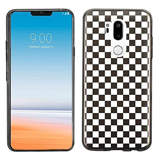 Checkers Case Protector (for LG G7 ThinQ Case, One Tough Shield Scratch-Resistant TPU Slim-Fit Protector Phone Case (Black Bezel) - Checker B/W)