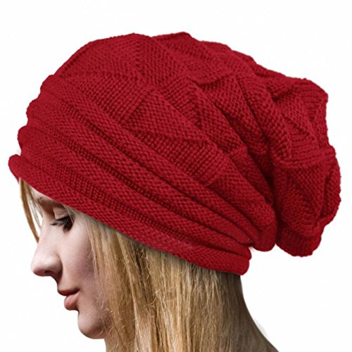 Women Fashion Winter Knit Hat,Crytech Warm Soft Stretch Ruched Crochet Wool Knitted Skully Beanie Cap Slouchy Baggy Long Knitting Skull Snow Ski Hat for Ladies Girls Outdoor (Red)
