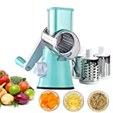 Vegetable slicer, HowiseAcc Multi-function Vegetable Fruit Cutter Cheese Shredder with 3 Stainless Steel Rotary Blades for Grinding, Cutting Silk, Slicing, Best for Carrot, Cucumber, Cheese, Onions, Tomato, Potato, Zucchini