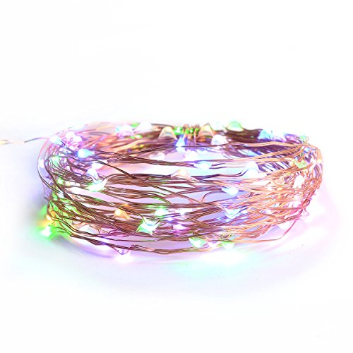 Lights Strings, LTROP 33ft 100 LED Solar Powered Copper Wire String Lights, Waterproof Rope Light for Seasonal Decorative Christmas Holiday, Wedding, Party– Multi Color