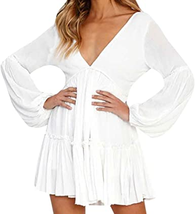 YEBIRAL Vestido Verano Mujer,Casual Elegantes Moda Suelto Color ...