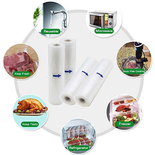 "Vacuum Sealer Bags, 6 Pack 8""x16.5' and 11""x16.5' Vacuum Sealer Roalls for Food Saver and Sous Vide"