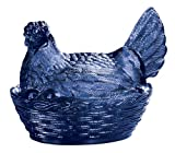 Blue Carnival Depression Style Glass Hen Candy Dish by Miles Kimball