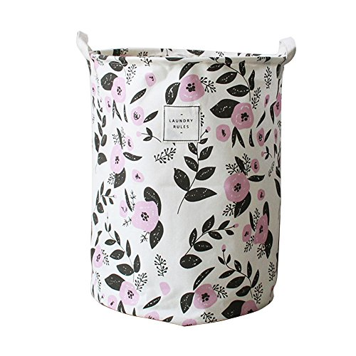 Julvie Collapsible & Durable Waterproof PE Coating Ramie Cotton Fabric Storage Bucket Laundry Hampers Baskets- Colorful Florals (Floral Basket)