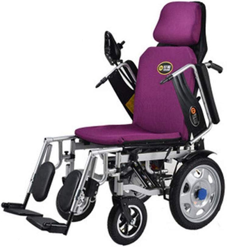 WERFFT Plegable Plegable eléctrica de la Silla de Ruedas con Flip-Back Brazos de Escritorio y elevando reposapiernas portátil de sillas de Ruedas eléctricas motorizado, púrpura