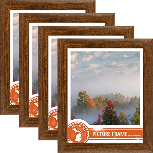 7 Piece Walnut Finish Wood - Craig Frames 23247616 5 by 7-Inch Picture Frame 4-Piece Set, Smooth Finish, 1-Inch Wide, Walnut Brown