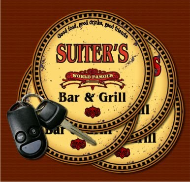 SUITER'S World Famous Bar & Grill Coasters - Set of 4