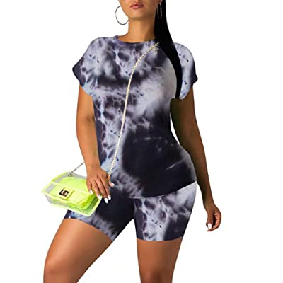 Ramoug Women Summer Tie Dye Colorful Print Two Piece Shorts Set Tracksuit Outfit at Women's Clothing store