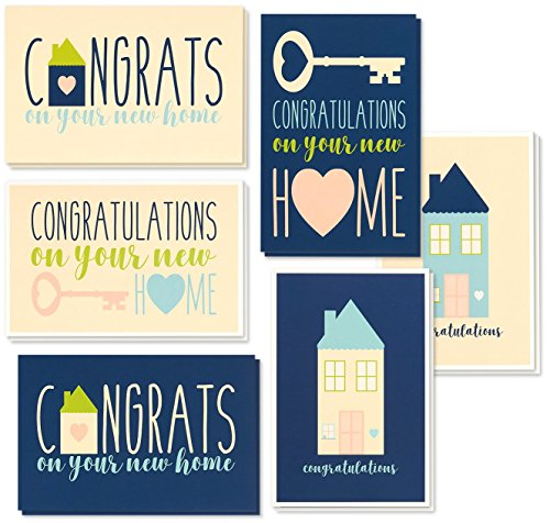 - 36 Pack House Warming Congratulations On Your New Home Greeting Cards, 6 Unique Style Designs, Bulk Box Set Variety Assortment, Envelopes Included, 4 x 6 Inches