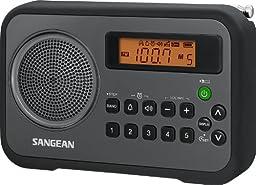 Sangean PR-D18BK AM/FM/Clock Portable Digital Radio with Protective Bumper (Black/Gray)