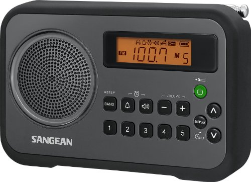 Sangean PR-D18BK AM/FM/Portable Digital Radio with Protective Bumper (Gray/Black) (Fm Portable Radio With Best Reception)