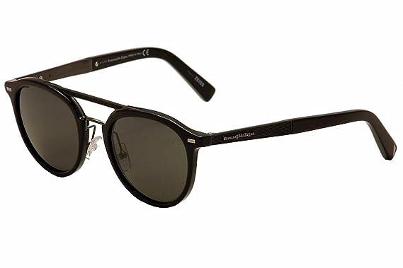 5a72e74246 Amazon.com  Ermenegildo Zegna EZ0022 Sunglasses 50 01D Shiny Black ...