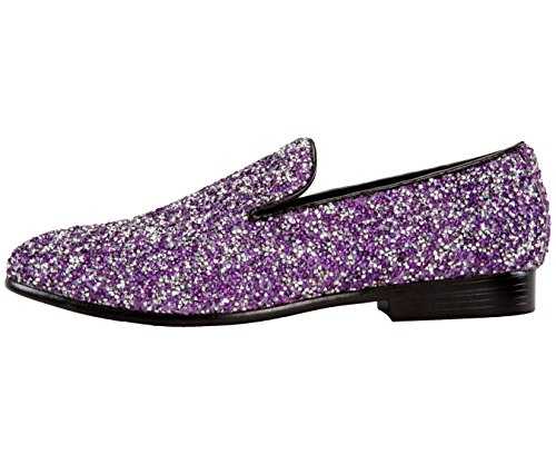 Amali Mens Metallic Glitter Slip On Smoking Slipper Style Parnos Lavender