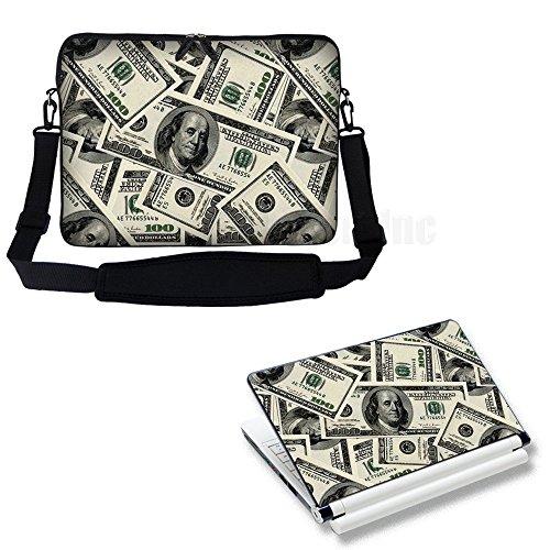 Meffort Inc 17 17.3 inch Laptop Carrying Sleeve Bag Case with Hidden Handle & Adjustable Shoulder Strap with Matching Skin Sticker Deal - USD Money Design by Meffort Inc