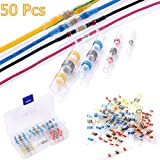 Bestgoo 50 Pcs solder Seal Wire Connector Kit, 4 Sizes Heat Shrink Butt Connectors Terminals Electrical Copper With Case(23Red 12Blue 10White 5Yellow)