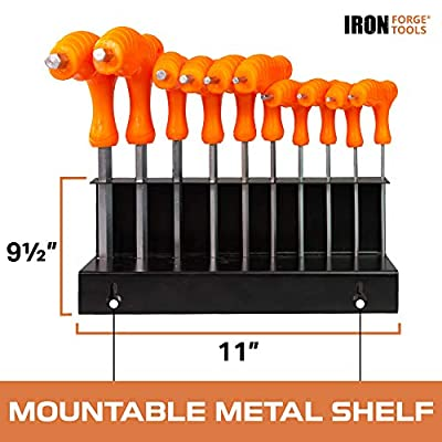 20 Piece T Handle Allen Wrench Set - SAE & Metric Hex Key Set with Stand