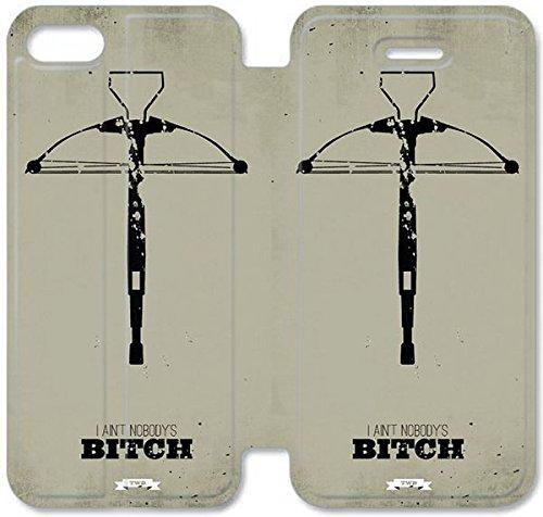 Flip étui en cuir PU Stand pour Coque iPhone 5 5S, bricolage cas de téléphone cellulaire 5 5S The Walking Dead S6O2IB Survivor Coque iPhone étuis en cuir