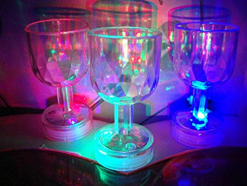 LED Mini Colorful Flashing Clear Crystal Mug Wine Glass Beer Drink Cup Bar Party
