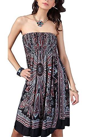 YiYaYo Womens Sexy Bohemian Vintage Strapless Summer Tube Top Dress Beachwear Black XXL - Hot Sexy Black Formal Dress
