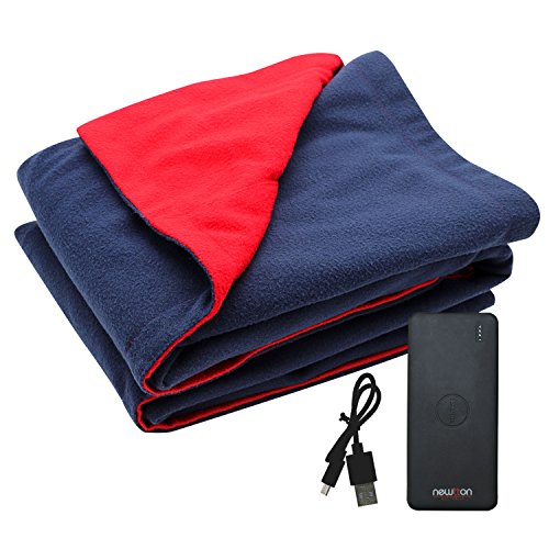 Heated Battery Blanket (USB Heated Fleece Blanket With Phone Charger Power Bank To Keep You Warm Outdoors)
