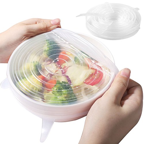 SMARTAKE KD580W Silicone Stretch Lids Seal Food Saver Cover, Various of Sizes, 6-Pack