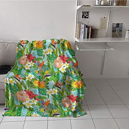 - Khaki home Children's Blanket Boys All Season Blanket (50 by 60 Inch,Leaf,Vintage Cartoon Style Image of Hawaiian Flowers Crepe Gingers,Blue Light Green Orange and Pink