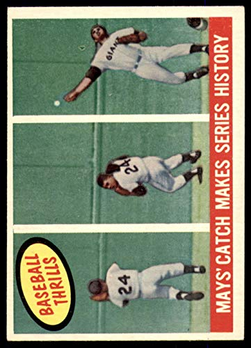(Baseball MLB 1959 Topps #464 Willie Mays Mays' Catch Makes Series History Excellent NY Giants)