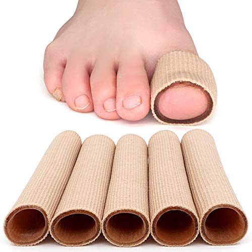 Dr. Foots Toe Tubes, Fabric Sleeve Protectors with Gel Lining Pad to Prevent Corn, Calluses, Blisters and Hammertoes, Toe Separators Protectors for Men and Women (Large 1 Diameter - 5 Pack)