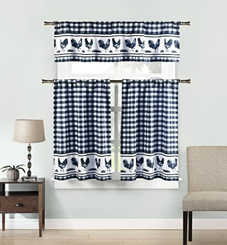 Home Maison – Hellen Rooster Plaid Gingham Checkered Kitchen Tier Valance Set Small Window Curtain for Cafe, Bath, Laundry, Bedroom – Navy Blue White