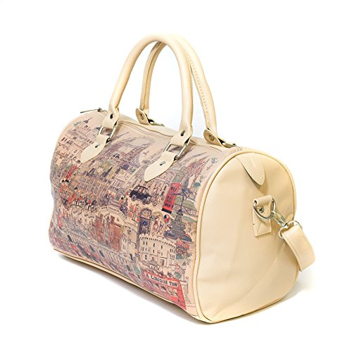 City Bag Cream - London City Vintage Design Shoulder Handbag, Cream