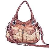Handbag Hobo Women Bag Roomy Multiple Pockets Street ladies' Shoulder Bag Fashion PU Tote Satchel Bag (1119 Brown)