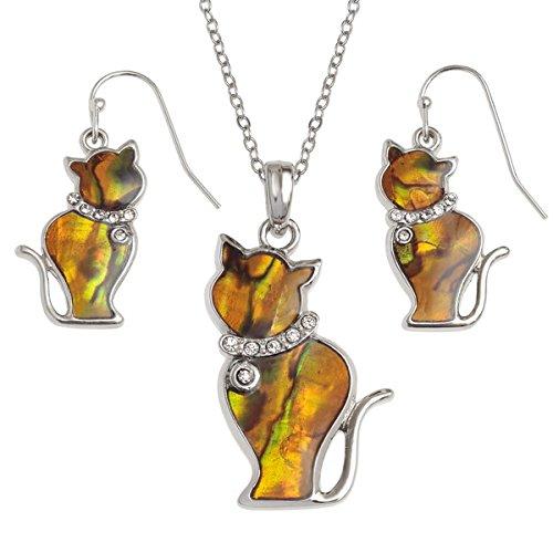 Talbot Fashions Tide Jewellery Inlaid Paua Shell Orange Cat Kitten Necklace & Dangly Earring Set