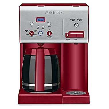 Cuisinart CHW-12R 12-Cup Programmable Coffeemaker Plus Hot Water System, Brushed Metal/Red