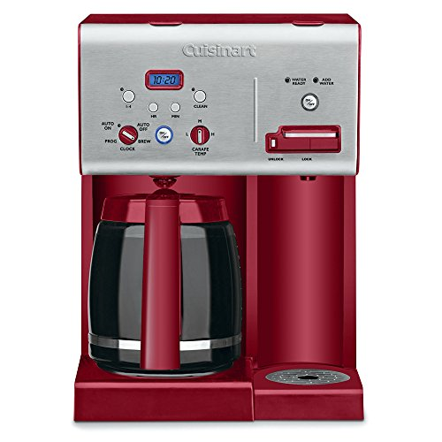 Cuisinart CHW-12R 12-Cup Programmable Coffeemaker Plus Hot Water System Coffee Maker, Brushed Metal/Red ()