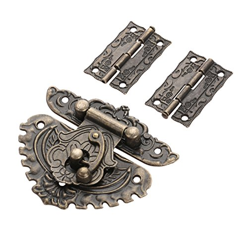 2PCS Hinge & 1 PC Retro Style Padlock Lock Key Latch Clasp Set Box Lock with 13 ()
