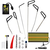 Mookis PDR Rods Tools 19Pcs Paintless Dent Repair Puller Kits for Car Door Dents Dings Removal with Air Pump Wedge LED Line Board