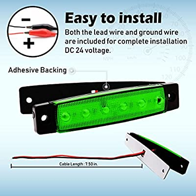 Meerkatt 10x 6 LED SMD Extra Bright Decoration Green Clearance Lamp Mini Side Marker Indicator Parking Lights Rear Tail Fender Trailer Truck Cab Lorry SUV GHV RV Camper Boat 3.8 Inch Sealed Waterproof: Automotive