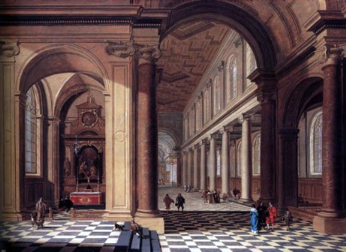 Gerard Houckgeest Interior of an Imaginary Catholic Church in Classical Style - 24'' x 32'' 100% Hand Painted Oil Painting Reproduction by Art Oyster
