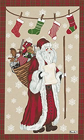 Beauville, Pere Noel (Father Christmas) French Holiday Kitchen / Tea Towel, Silk Screen Hand Printed, 82% Cotton / 18% Linen, 20