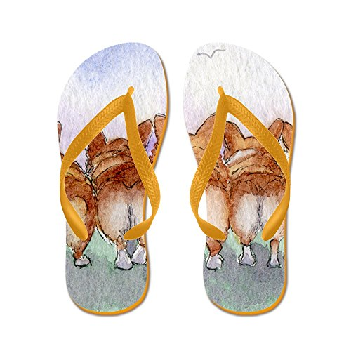 Cafepress Five Walk Away Together Square Square - Chanclas, Sandalias Thong Divertidas, Sandalias De Playa Naranja