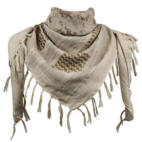 (Explore Land Cotton Shemagh Tactical Desert Scarf Wrap (Desert Camo) )