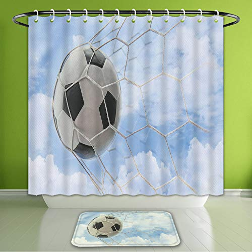Waterproof Shower Curtain and Bath Rug Set Sports Decor Collection Soccer Ball in Goal with Cloudy Sky Summertime Outdoor Bath Curtain and Doormat Suit for Bathroom Extra Long Size 72